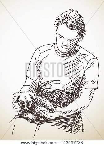 Man with puppy, Hand drawn illustration, Vector sketch
