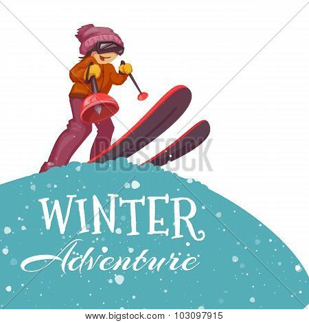Winter Adventure poster with skier girl. Vector illustration