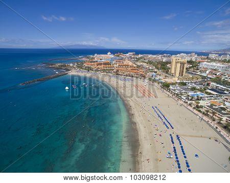 Aerial Shot Of Beautiful Beach And Ocean In Adeje Playa De Las Americas, Tenerife Islands, Spain