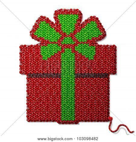 Gift Symbol Of Knitted Fabric Isolated On White Background