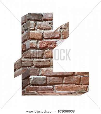 Pound sign from old brick alphabet set isolated over white. Computer generated 3D photo rendering.