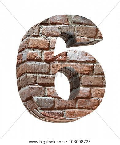 Number from old brick alphabet set isolated over white. Computer generated 3D photo rendering.