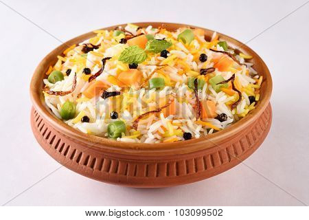 indian pulav or vegetable fried rice or veg biryani