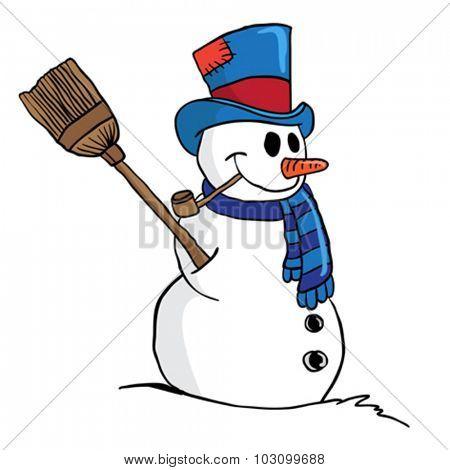 snowman cartoon illustration isolated on white