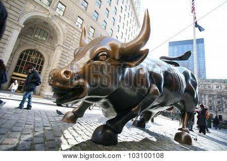 New York City - January 01: The Landmark Charging Bull In Lower