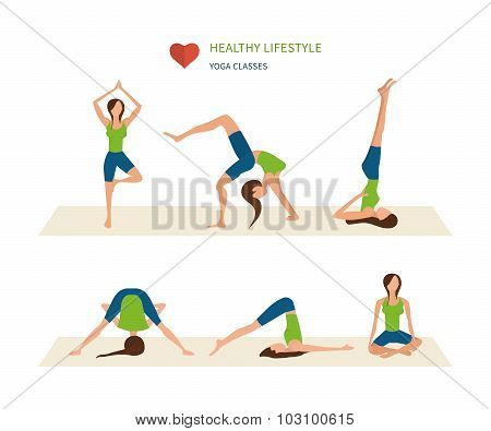Modern flat vector icons of healthy lifestyle, fitness and physical activity. Vector yoga illustrati