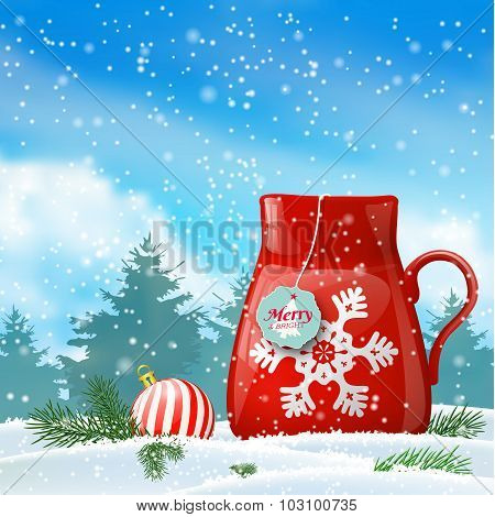 christmas theme, red cup with abstract snowflake, illustration