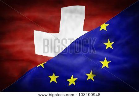 Switzerland and European Union mixed flag.