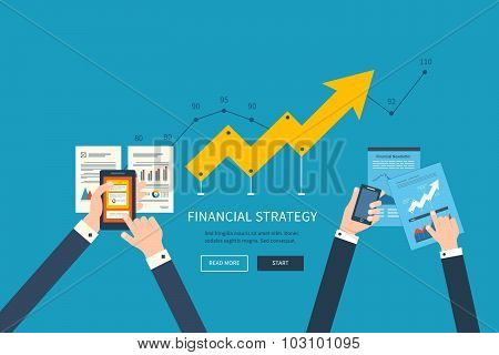 Concepts for business analysis, teamwork, financial report and strategy.