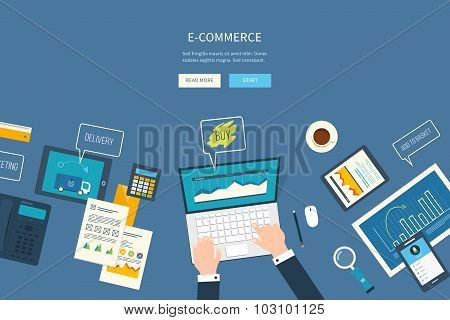 Flat design illustration concepts for business analysis and planning, e-commerce financial report, o