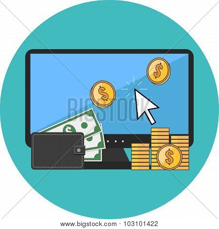 Making Money Online Concept. Flat Design.