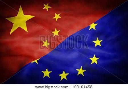 China and European Union mixed flag.