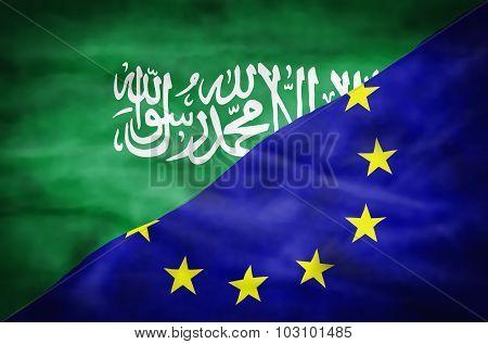 Saudi Arabia and European Union mixed flag.