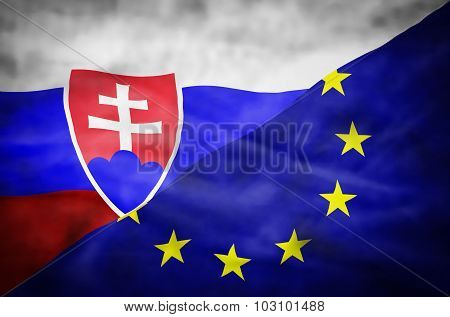 Slovakia and European Union mixed flag.