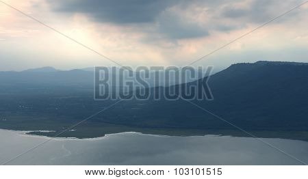 mountain with sunlight at Lam Takong reservoir dam