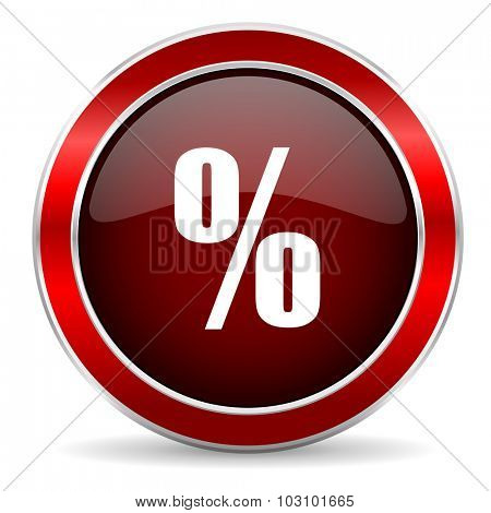 percent red circle glossy web icon, round button with metallic border