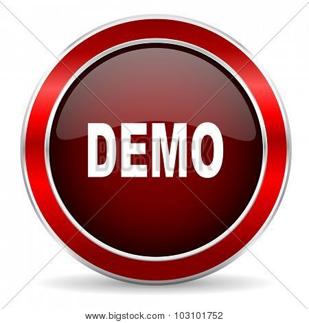 demo red circle glossy web icon, round button with metallic border