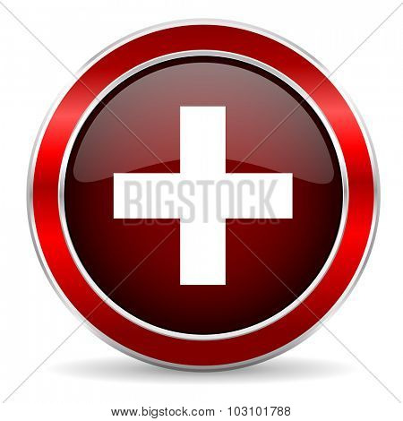 plus red circle glossy web icon, round button with metallic border