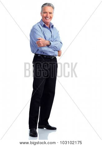 Handsome elderly businessman. Accounting and finance business.