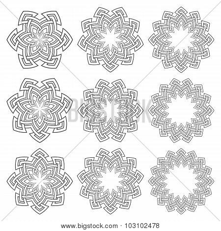 Set of circular patterns.
