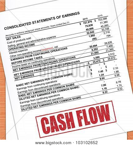 Cash Flow Rubber Stamp Text On White Paper And Oak Table