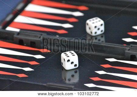 dice on the backgammon
