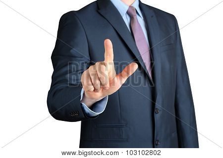 Bisinessman  In A Modern Suit Touching  Something H By Hand. Gray Background Beside