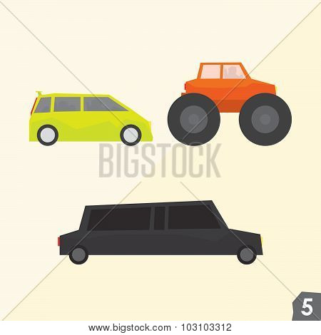 Family van, monster truck and limousine. Transportation vector set 5