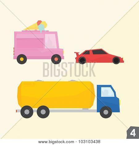 Ice cream van, sport car, gasoline truck. Transportation vector set 4
