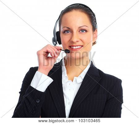 Business woman with headphones. Isolated on white background.