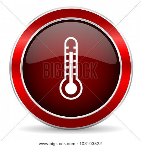 thermometer red circle glossy web icon, round button with metallic border