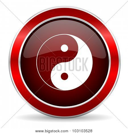 ying yang red circle glossy web icon, round button with metallic border