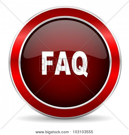 faq red circle glossy web icon, round button with metallic border