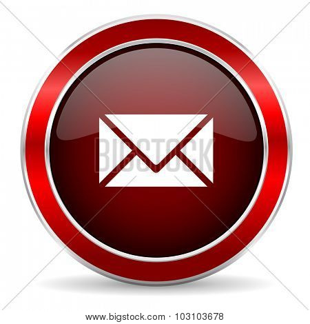 email red circle glossy web icon, round button with metallic border