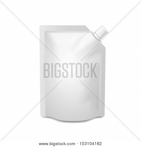 White blank doy-pack, doypack foil food or drink bag packaging with corner spout lid.