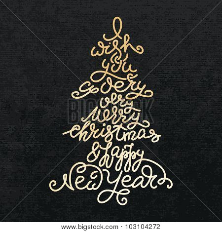 Merry Christmas Happy New Year Calligraphy