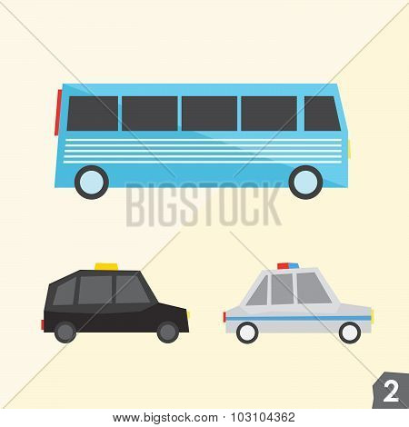 Blue bus, taxi cab, police car. Transportation vector set 2