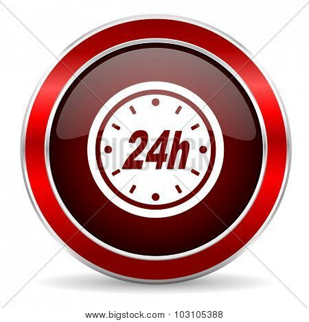 24h red circle glossy web icon, round button with metallic border
