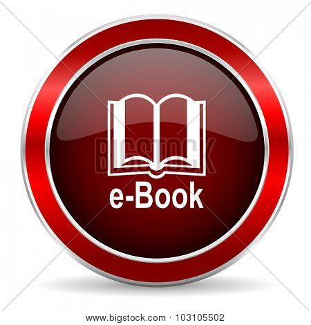 book red circle glossy web icon, round button with metallic border