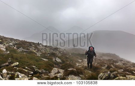 Tourist Climb To The Top Of Hoverla