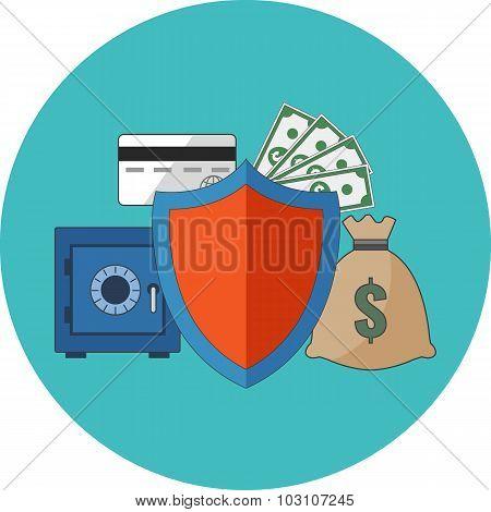 Financial Security Concept. Flat Design.