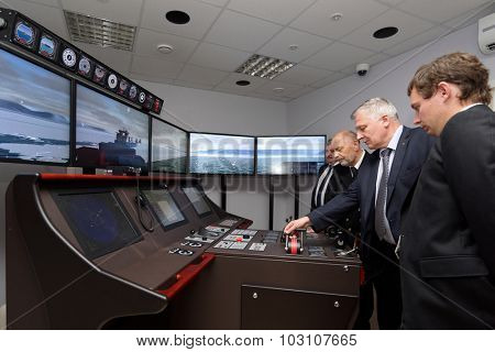 ST. PETERSBURG, RUSSIA - SEPTEMBER 22, 2015: Marine simulator in the Ice navigation training center of Krylov state research center. New training programs rely to requirements of STCW Convention