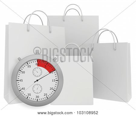 Stopwatch with four paper bags isolated on white background
