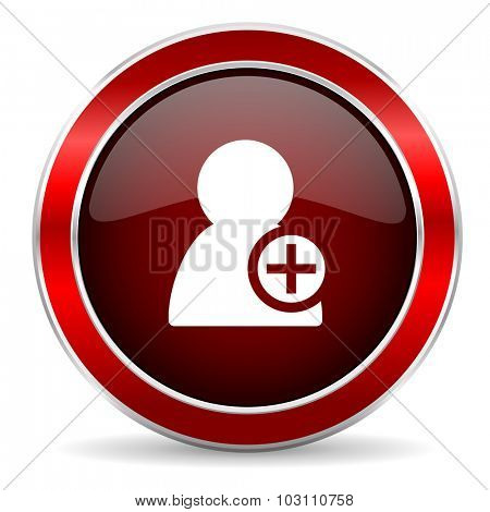 add contact red circle glossy web icon, round button with metallic border