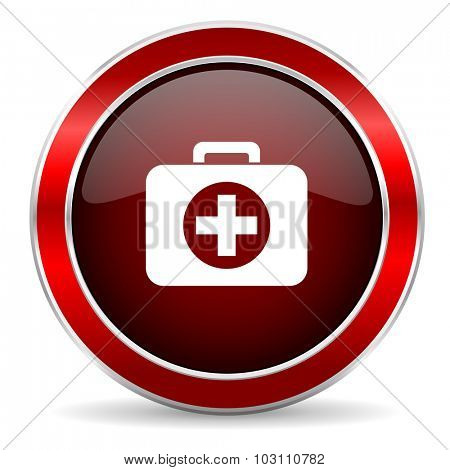 first aid red circle glossy web icon, round button with metallic border