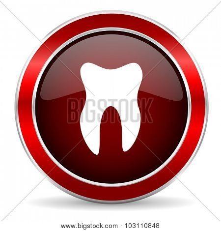 tooth red circle glossy web icon, round button with metallic border