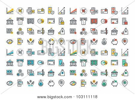 Flat line colorful icons collection of banking and m-banking
