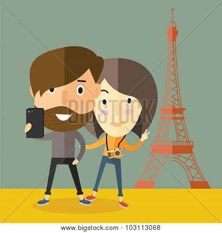 selfie with girlfriend at Eiffel tower