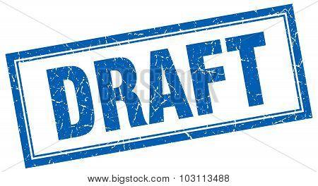 Draft Blue Square Grunge Stamp On White