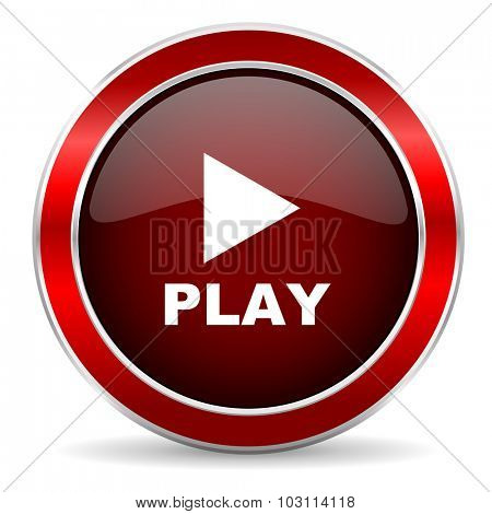 play red circle glossy web icon, round button with metallic border